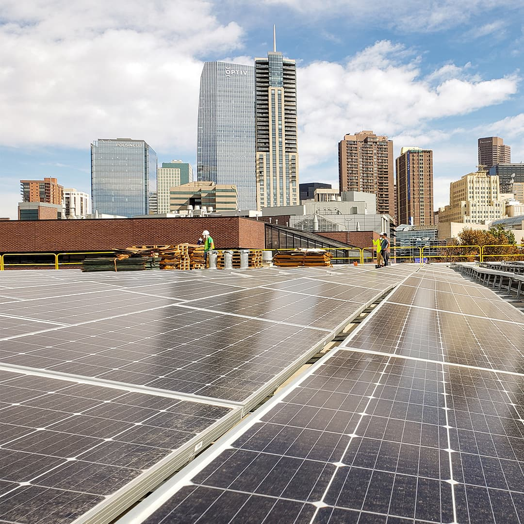 solar panels in front of skyline
