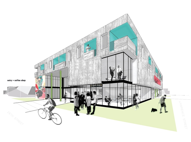 Urban Works exterior elevation and site rendering