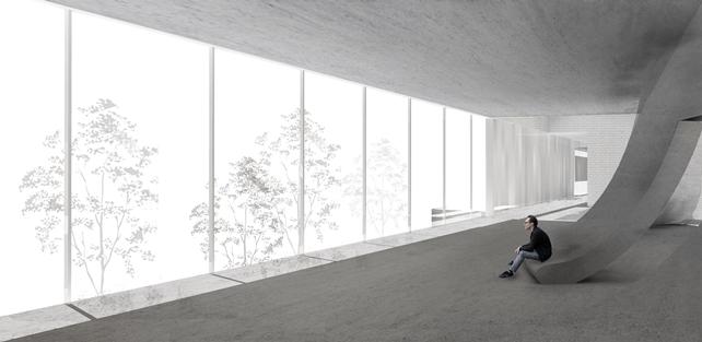A museum interior rendering