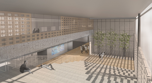 Architectrural rendering of interior space