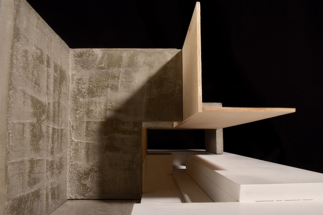Photograph of concrete and wood model