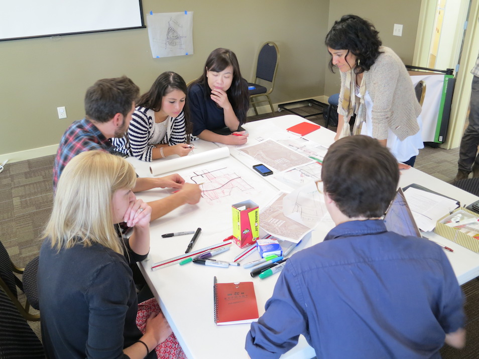 Students in the Fall 2016 Urban Housing class work on a housing design charrette.