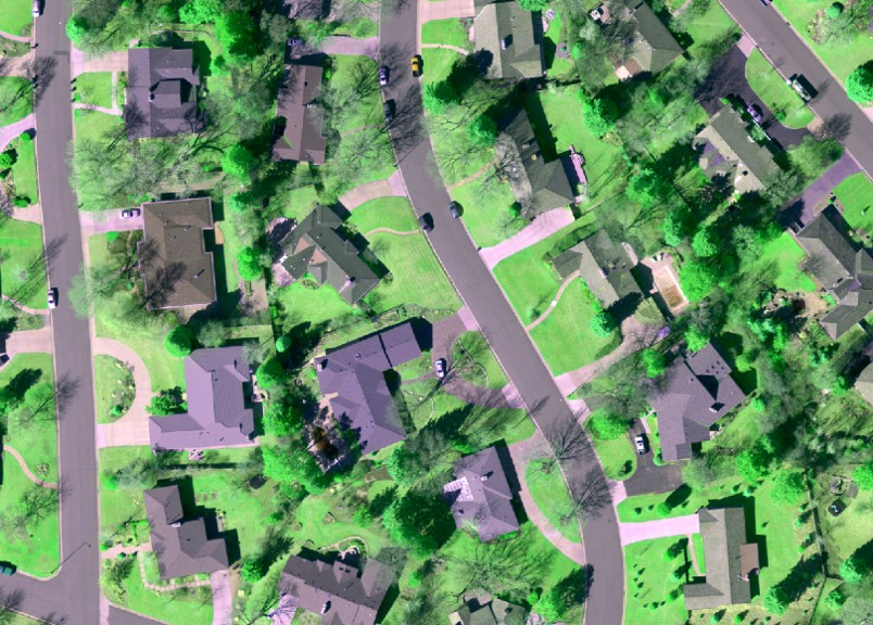 Aerial view of suburban houses with vibrant green lawns