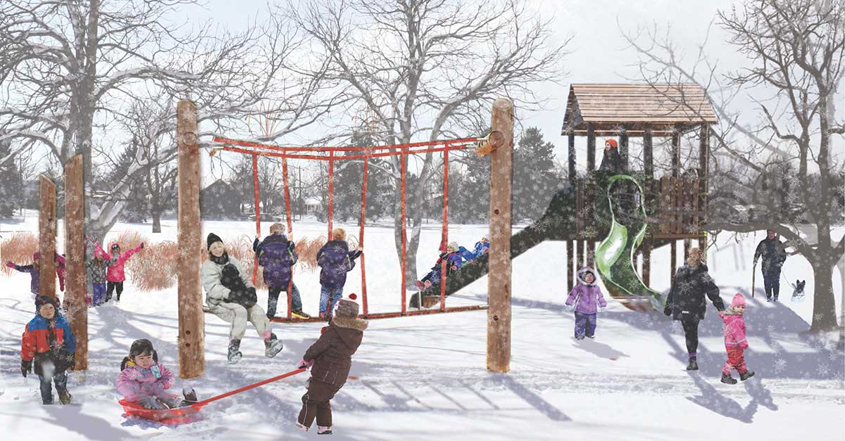 Rendering of Lasley park in the winter with children playing
