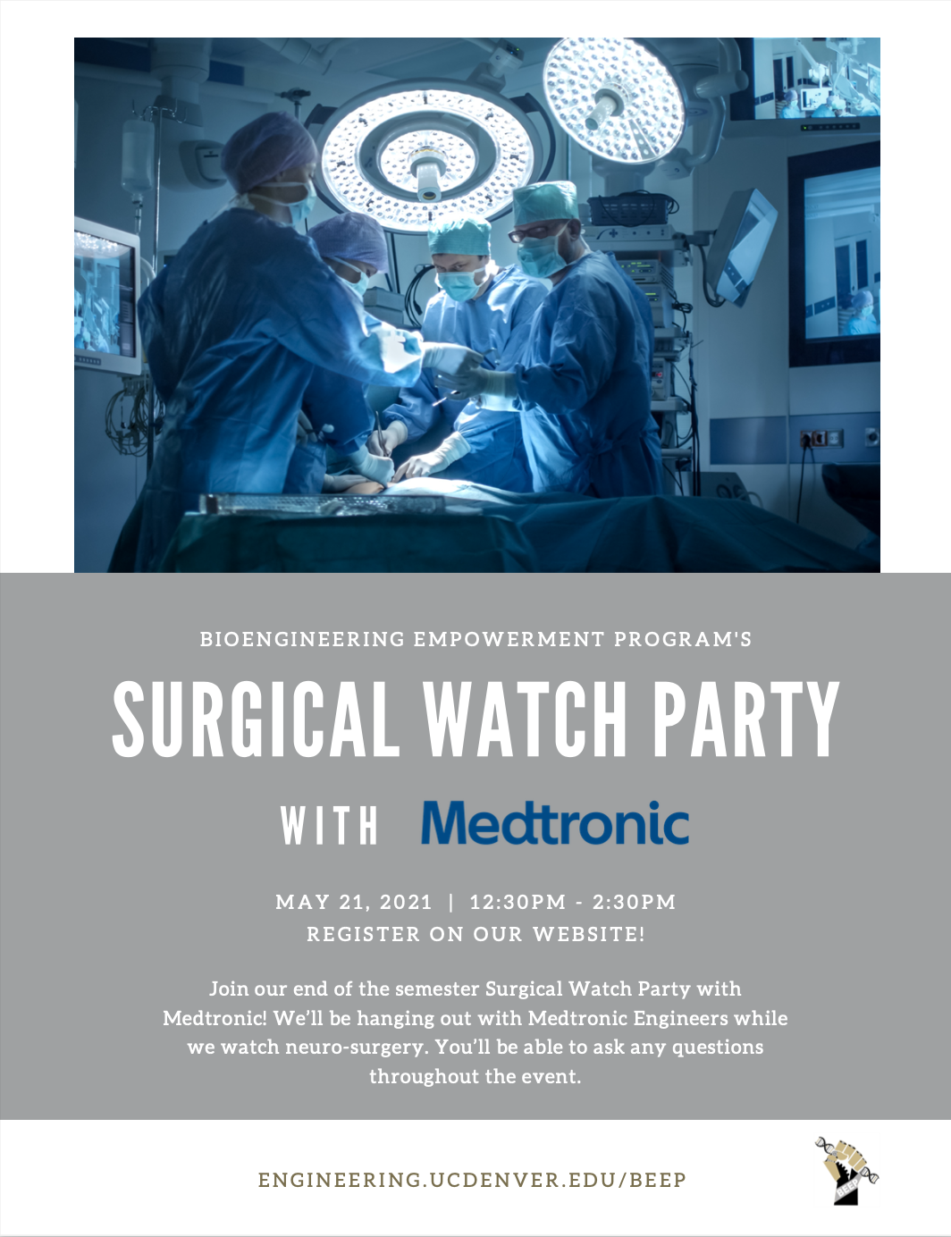 The flyer for the upcoming Surgery Watch Party with Medtronic BEEP event