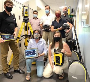 Trimble employees and College of Engineering, Design and Computing show off new technologies in Trimble Technology Lab.